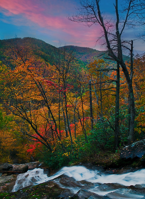Crabtree Falls at sunset, George Washington National Forest, Virginia