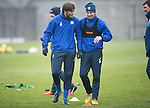St Johnstone Training&hellip;.16.12.16<br />Murray Davidson and Steven MacLean pictured during training this morning at a wet and foggy McDiarmid Park<br />Picture by Graeme Hart.<br />Copyright Perthshire Picture Agency<br />Tel: 01738 623350  Mobile: 07990 594431