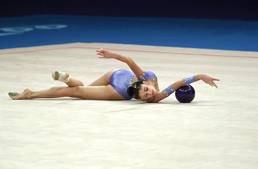 Sep 28, 2000; SYDNEY, AUSTRALIA:<br /> INGA TAVDISHVILI of Georgia performs with ball during rhythmic gymnastics qualifying at 2000 Summer Olympics.