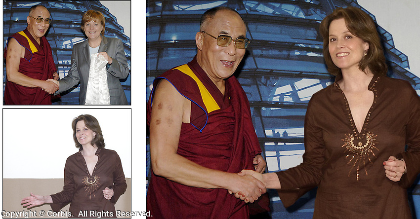 We bought the rights to the photo of the Dalai Lama and Angela Merkel, and then shot a posed photo of Sigourney Weaver for me to insert.