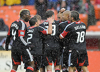 D.C. United midfielder Chris Pontius (13) celebrates with team mates his second goal in the 32th minute of the game.  D.C. United defeated The New York Red Bulls 4-1 at RFK Stadium, Sunday April 22, 2012.