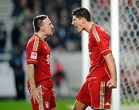 Fussball 1. Bundesliga:  Saison   2011/2012    16. Spieltag VfB Stuttgart - FC Bayern Muenchen  11.12.2011 JUBEL FC  Bayern Muenchen, Franck Ribery (li) und Torschuetze Mario Gomez