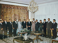 Baghdad, Iraq, Saddam's family pictures, date unknown..The Al Tikriti clan:from left ot right:.unidentified.unidentified.Saddam Kamal Al Majid, son in law killed in 1995.Saddam's half brother.Watban, second half brother.SADDAM HUSSEIN.Third half brother.Oudai, Saddam eldest son.Hussein Kamal Al Majid, son in law assasinated in 1995.Adnan Khairala.unidentified.unidetified.Koussai, Saddam's youngest son.