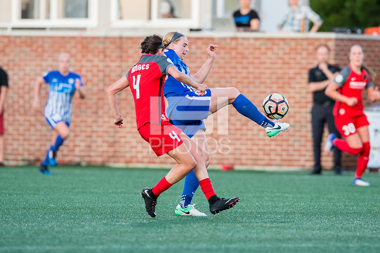 Boston, MA - Friday May 19, 2017: Emily Menges and Natasha Dowie during a regular season National Women's Soccer League (NWSL) match between the Boston Breakers and the Portland Thorns FC at Jordan Field.