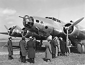 """United States Army Air Force Boeing B-17  """"Flying Fortress"""" at Bolling Field in Washington, DC.  The Flying Fortress is one of the most famous airplanes ever built. The B-17 prototype first flew on July 28, 1935.  Few B-17s were in service on December 7, 1941, but production quickly accelerated. The aircraft served in every WW II combat zone, but is best known for daylight strategic bombing of German industrial targets. Production ended in May 1945 and totaled 12,726 airplanes. .Credit: U.S. Air Force via CNP"""
