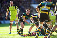 Nic Groom of Northampton Saints passes the ball. Aviva Premiership match, between Northampton Saints and Leicester Tigers on March 25, 2017 at Franklin's Gardens in Northampton, England. Photo by: Patrick Khachfe / JMP