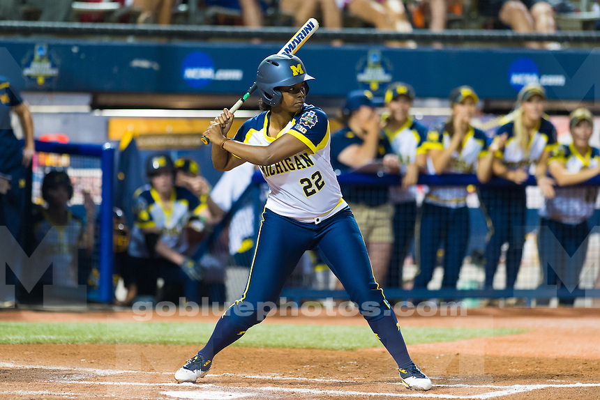 The University of Michigan women's softball team,2-0 victory over LSU in Game 1 of the Women's College World Series at the ASA Hall of Fame Stadium in Oklahoma City,Okla. on 6/03/16.