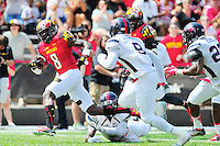WR Levern Jacobs of the Terrapins sprints for the end zone. Maryland defeated Richmond 50-21 during home season opener at the Byrd Stadium in College Park, MD on Saturday, September 5, 2015.  Alan P. Santos/DC Sports Box