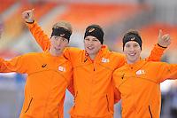 OLYMPICS: SOCHI: Adler Arena, 08-02-2014, 5000 m Men, podium, Jorrit Bergsma (NED), Sven Kramer (NED), Jan Blokhuijsen (NED), ©foto Martin de Jong