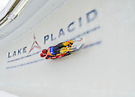 5 December 2014:  Tobias Wendl and Tobias Arlt, sliding for Germany, bank into Curve 10 on their second run, ending the day with a 2nd place finish and a combined 2-run time of 1:28.011 in the Men's Doubles Competition at the Viessmann Luge World Cup, at the Olympic Sports Track in Lake Placid, New York, USA. Mandatory Credit: Ed Wolfstein Photo *** RAW (NEF) Image File Available ***
