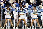 16 December 2014: UNC cheerleaders. The University of North Carolina Tar Heels hosted the Oregon State University Beavers at Carmichael Arena in Chapel Hill, North Carolina in a 2014-15 NCAA Division I Women's Basketball game. Oregon State won the game 70-55.
