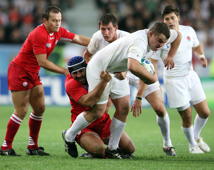 England's Matt Stevens, right,  in the tackle of Georgia's David Khinchagishvili in the Rugby World Cup pool match at Otago Stadium, Dunedin, New Zealand, Sunday, September 18, 2011. Credit:SNPA / Dianne Manson.