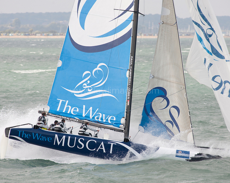 5th August 2010 . Cowes. Isle of Wight..Pictures of the winning team, The Wave Muscat  EX40, skippered by Paul Campbell-James (GBR),Tactician Alister Richardson (GBR),Trimmer / Bowman Nick Hutton (GBR), Bowman Khamis Al Bouri (OMA). Shown here in action during the final race of the UK stage of the 2010 Extreme 40 European Sailing Series...Mandatory credit: Lloyd Images