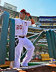 24 September 2012: Washington Nationals shortstop Ian Desmond steps out of the dugout to warm up prior to facing the visiting Milwaukee Brewers at Nationals Park in Washington, DC. The Nationals defeated the Brewers 12-2 in the final game of their 4-game series, splitting the series at two. Mandatory Credit: Ed Wolfstein Photo
