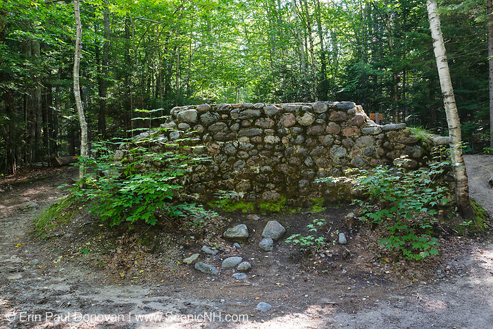 Stone abutment at the end the Lincoln Brook Trail in the New Hampshire White Mountains. This abutment is from Trestle 7, and it crossed Franconia Brook along the old the East Branch & Lincoln Railroad (1893-1948).