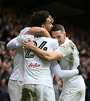 Queens Park Rangers' Yeni Atito Ngbakoto celebrates scoring his sides first goal with James Perch and Conor Washington<br /> <br /> Photographer /Rob NewellCameraSport<br /> <br /> The EFL Sky Bet Championship - Queens Park Rangers v Cardiff City - Saturday 4th March 2017 - Loftus Road - London<br /> <br /> World Copyright &copy; 2017 CameraSport. All rights reserved. 43 Linden Ave. Countesthorpe. Leicester. England. LE8 5PG - Tel: +44 (0) 116 277 4147 - admin@camerasport.com - www.camerasport.com