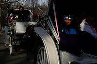 Horse-drawn cabs ride through Central Park, New York, 01/20/2016 NYC Mayor Bill de Blasio plans to reduce the number of carriages and restrict them to ride in Central Park. Photo by VIEWpress