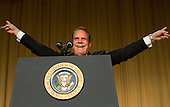 Washington, D.C. - April 21, 2007 - Comedian Rich Little impersonates former United States President Richard Nixon at the White House Correspondence Association Dinner April 21, 2007 in Washington, DC.  Comedian Rich Little hosted and provided entertainment for President George W Bush, White House reporters, their guests and celebrities.  .Credit: Brendan Smialowski - Pool via CNP