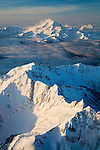 Aerial view of Glacier Peak on morning of January 16.  Washington Cascades.