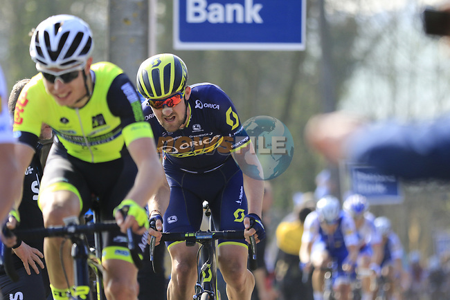 Riders including Luke Durbridge (AUS) Orica-Scott summit the Taaienberg 18% cobbled climb during the 60th edition of the Record Bank E3 Harelbeke 2017, Flanders, Belgium. 24th March 2017.<br /> Picture: Eoin Clarke   Cyclefile<br /> <br /> <br /> All photos usage must carry mandatory copyright credit (&copy; Cyclefile   Eoin Clarke)