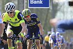 Riders including Luke Durbridge (AUS) Orica-Scott summit the Taaienberg 18% cobbled climb during the 60th edition of the Record Bank E3 Harelbeke 2017, Flanders, Belgium. 24th March 2017.<br /> Picture: Eoin Clarke | Cyclefile<br /> <br /> <br /> All photos usage must carry mandatory copyright credit (&copy; Cyclefile | Eoin Clarke)