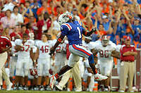GAINESVILLE, FL 9/30/06-Florida's Reggie Nelson celebrates recovering an Alabama fumble during second half action Saturday at Ben Hill Griffin Stadium in Gainesville. COLIN HACKLEY PHOTO