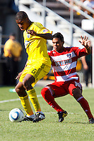 28 AUGUST 2010:  Andy Iro of the Columbus Crew (6) and FC Dallas' David Ferreira (10) during MLS soccer game between FC Dallas vs Columbus Crew at Crew Stadium in Columbus, Ohio on August 28, 2010.