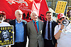 Orgreave campaigners hold Westminster rally before Home Secretary meeting<br /> 13th September 2016, Labour leader Jeremy Corbyn, Shadow Home Secretary Andy Burnham and other MPs join the Orgreave Truth and Justice Campaign <br /> Westminster, London, Great Britain <br /> <br /> <br />  Jeremy Corbyn <br /> Dennis Skinner <br /> Andy Burnham <br /> <br /> followed by an open meeting of campaigners and politicians ahead of a private meeting with Home Secretary Amber Rudd on the campaign&rsquo;s call for a public inquiry. Hillsborough campaigner Margaret Aspinall <br /> speaks at meeting  <br /> <br /> <br /> <br /> Photograph by Elliott Franks <br /> Image licensed to Elliott Franks Photography Services