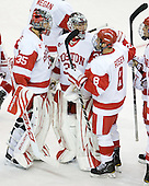 Grant Rollheiser (BU - 35) and Adam Kraus (BU - 32) split the game.  Rollheiser made 7 saves on 7 shots and Kraus made 8 saves on 11 shots. - The Boston University Terriers defeated the visiting University of Toronto Varsity Blues 9-3 on Saturday, October 2, 2010, at Agganis Arena in Boston, MA.