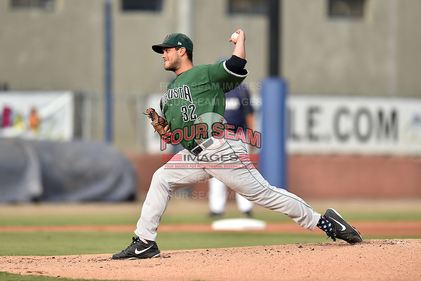 Augusta GreenJackets starting pitcher Steve Messner #32 delivers a pitch during a game against the Asheville Tourists at McCormick Field August 16, 2014 in Asheville, North Carolina. The GreenJackets defeated the Tourists 5-0. (Tony Farlow/Four Seam Images)