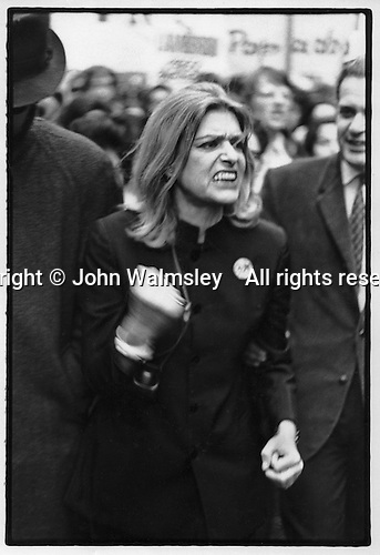 Melina Mercouri leading a demonstration in London against the Greek Colonels.  1969.