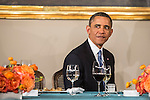 President Barack Obama attends the Inaugural Luncheon in Statuary Hall at the U.S. Capitol on Monday, January 21, 2013 in Washington, DC.