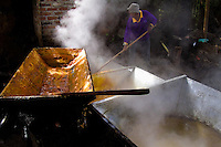 A Colombian peasant scoops up hot sugar cane juice in a cooking pot during the processing of panela in a rural sugar cane mill (trapiche) in San Agustín, Colombia, 18 April 2004. Panela, a solid block of raw, unrefined sugar, is made by cooking and evaporation of the sugar cane juice into a golden, sticky syrup which is then poured into the wooden molds and allowed to solidify. Having the taste like a cross between molasses and brown sugar, panela is served as a hot or cold infusion (aguapanela). Due to the large amounts of proteins, vitamins and minerals and thus, panela is believed to have healing powers. Cheaper than sugar, it is consumed by the majority of Colombians and it is a major source of calories for children from families with low socioeconomic status. With more than 70,000 farms that cultivate sugarcane for mills, panela production is an important economic activity in the Colombian countryside, employing around 350,000 people and being the second largest source of jobs after agricultural coffee production.