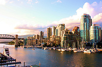 A late evening view of Vancouver looking northwest from Granville Island