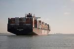 Cargo Ship Leaving Southampton Port, England, UK