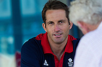 ENGLAND, Weymouth. 10th August 2012. Olympic Games. Ben Ainslie (GBR) Finn Class gold medalist being interviewed by Matthew Sheahan (GBR) Yachting World.