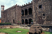 The Palacio de Cortes in downtown Cuernavaca, Morelos, Mexico. This fortress-like structure was built between 1522 and 1532 on top of an Aztec pyramid destroyed by the Spanish. It now houses the Museo Regional Cuauhnahuac and murals by Diego Rivera.