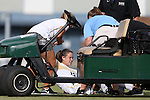 19 August 2016: Wofford's Rachel Fenner is helped onto the medical cart after suffering a game-ending injury. The Duke University Blue Devils played the Wofford College Terriers in a 2016 NCAA Division I Women's Soccer match. Duke won the game 9-1.