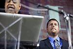 Tyler Daniels recieves the Outstanding Senior Leader Award from President Roderick McDavis at Ohio University's 33rd Annual Leadership Awards Gala in Baker Ballroom on April 7, 2016. ©Ohio University/ Photo by Kaitlin Owens