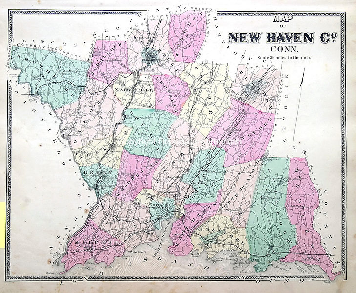 MIDDLEBURY, CT 06/10/08- 061008BZ10- A map  of New Haven County, Connecticut<br /> from Michael Dooling's collection.<br /> <br /> Jamison C. Bazinet Republican-American