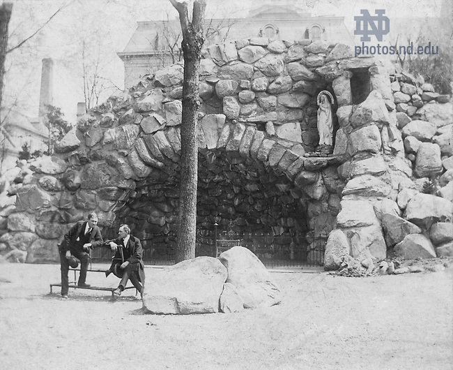GTJS 2/14:  Two men at the Grotto, c1900..Image from the University of Notre Dame Archives.