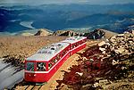 PIke's Peak Cog Railway reaches the summit of Pike's Peak, near Colorado Springs, Colorado