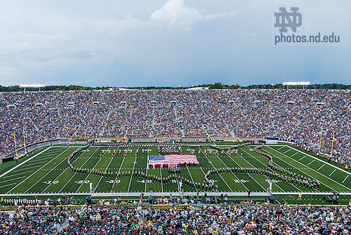 Aug. 30, 3014; The Notre Dame Marching Band performs at halftime of the football game against Rice.<br /> <br /> Photo by Matt Cashore
