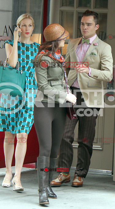 August 10, 2012  Ed Westwick, Kelly Rutherford, Marcil Leighton shooting on location for  Gossip Girl in New York City.Credit:&copy; RW/MediaPunch Inc. /NortePhoto.com*<br />