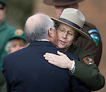 Secretary of the Interior Ken Salazar hugs a National Park Service  Ranger before a memorial service at the Pacific Lutheran University for  National Park Service Ranger Margaret Anderson in Tacoma on January 10, 2010. Anderson, was slain at Mount Rainier on New Years' Day when she set up a road block to intercept a vehicle, driven by Benjamin Barnes, who failed to stop at a chain-up checkpoint.  Barnes, the suspect  in the shooting was found dead was found dead the next day. He had drown in Paradise Creek.      ©2012. Jim Bryant Photo. All RIGHTS RESERVED.