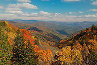 View of the Oconaluftee Valley on a partly cloudy afternoon, Great Smoky Mountains National Park