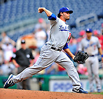 25 April 2010: Los Angeles Dodgers' relief pitcher Ramon Troncoso in action against the Washington Nationals at Nationals Park in Washington, DC. The Nationals shut out the Dodgers 1-0 to take the rubber match of their 3-game series. Mandatory Credit: Ed Wolfstein Photo