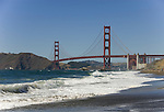 San Francisco: Baker Beach with Golden Gate Bridge in background.  Photo # 2-casanf83315.  Photo copyright Lee Foster