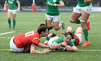 Ireland's Lindsay Peat scores her sides first try<br /> <br /> Photographer Ian Cook/CameraSport<br /> <br /> Women's Six Nations Round 4 - Wales Women v Ireland Women - Saturday 11th March 2017 - Cardiff Arms Park - Cardiff<br /> <br /> World Copyright &copy; 2017 CameraSport. All rights reserved. 43 Linden Ave. Countesthorpe. Leicester. England. LE8 5PG - Tel: +44 (0) 116 277 4147 - admin@camerasport.com - www.camerasport.com