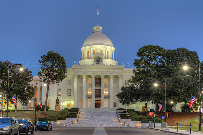 The Alabama State Capitol at twilight in Montgomery, Alabama.